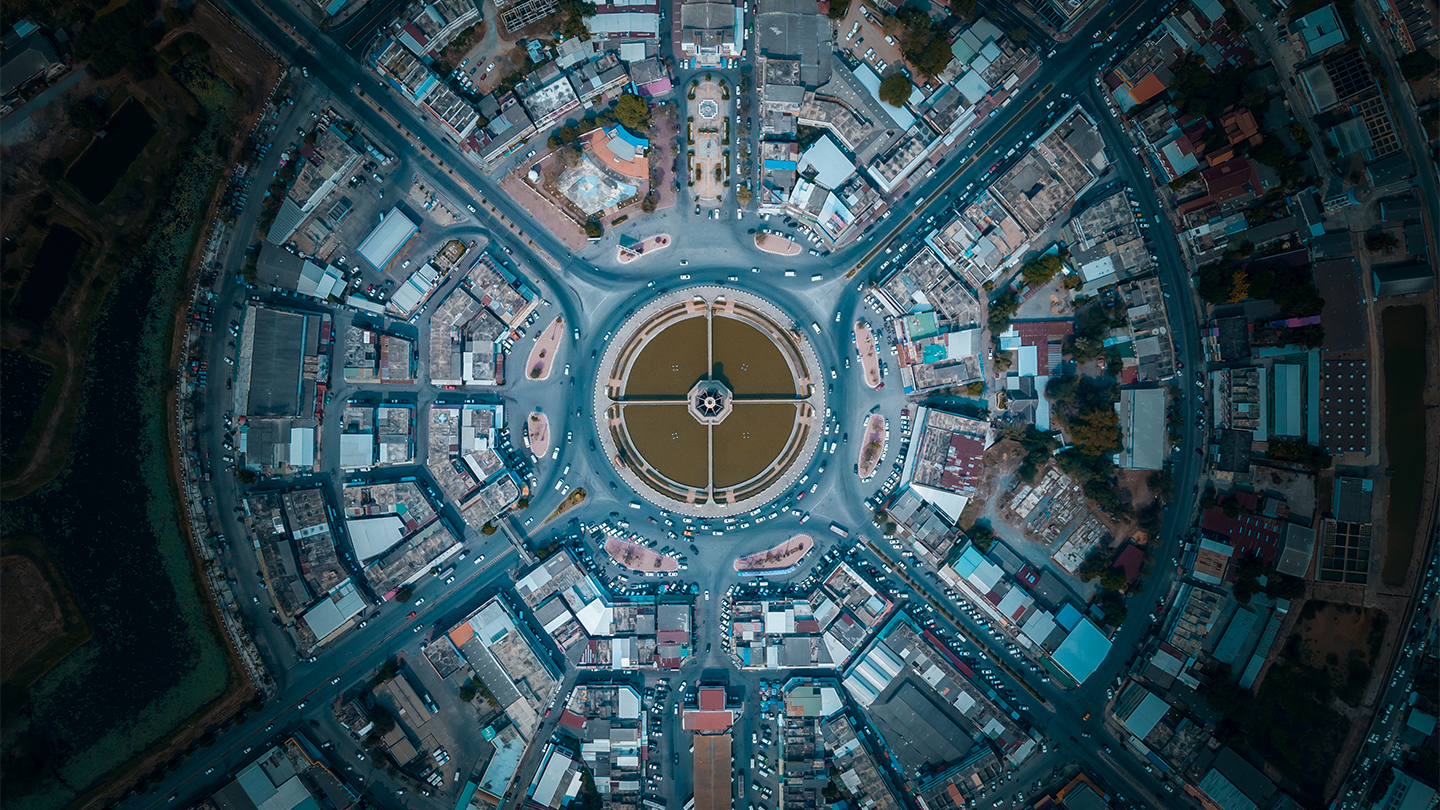 Bird's eye view of a city