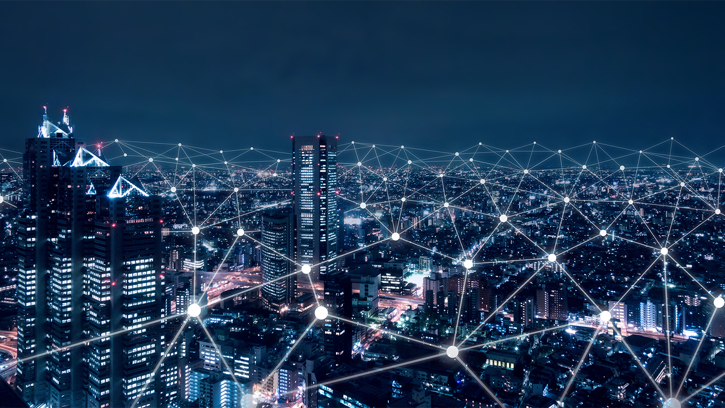 City skyline with abstract illustration of connection