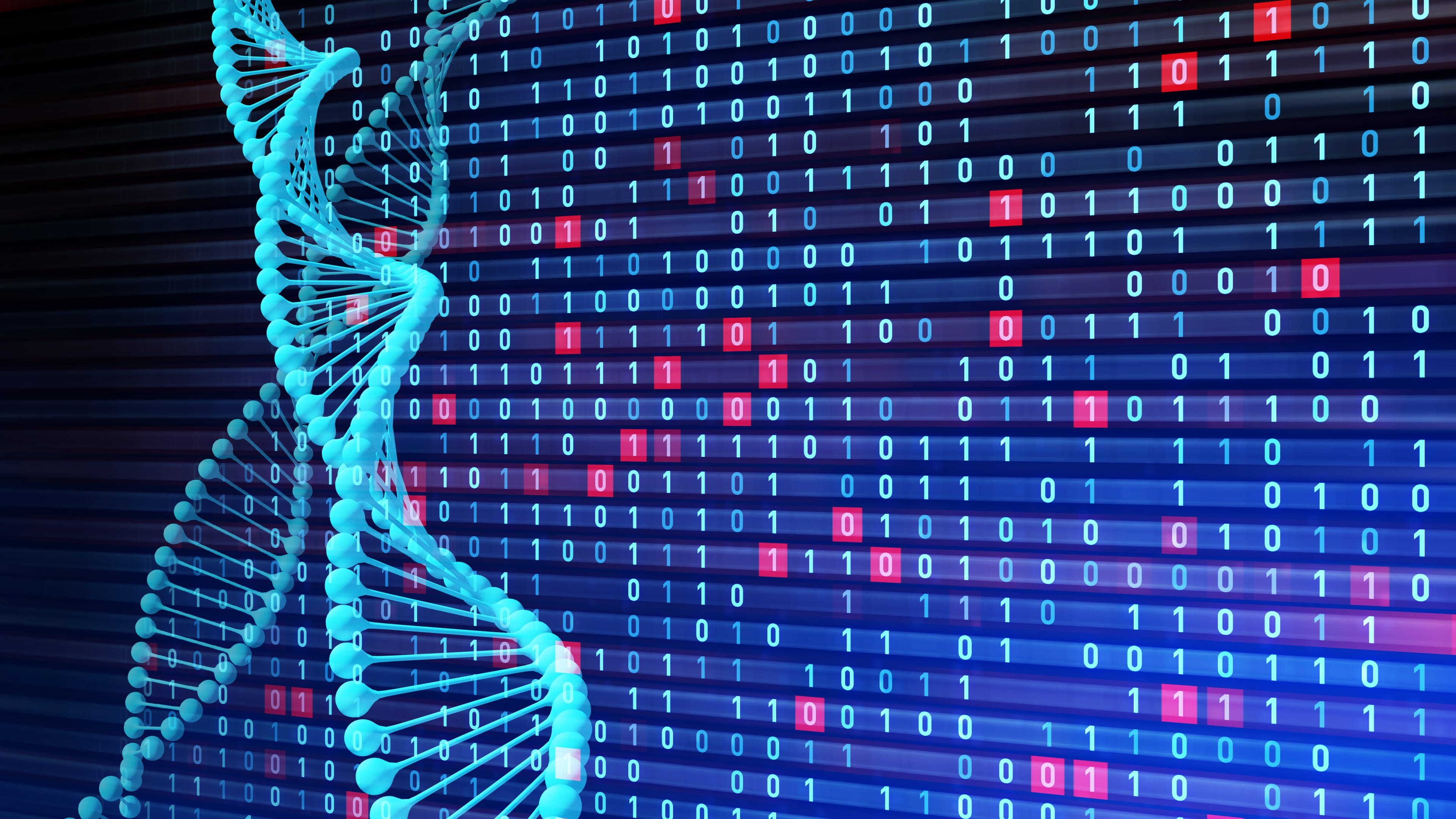 A DNA sequence imposed over binary code, in reference to MedTech