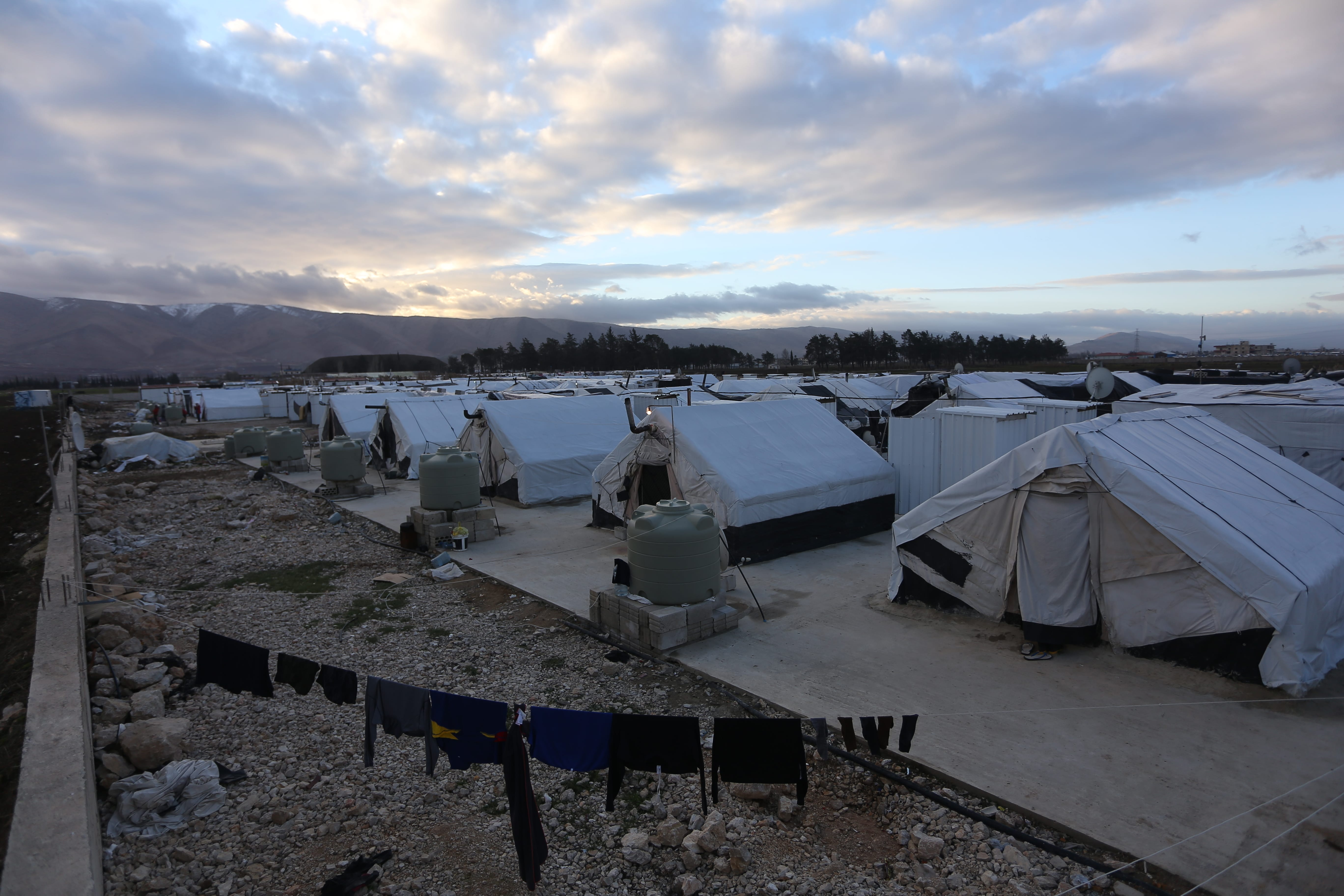 A series of tents at a refugee camp