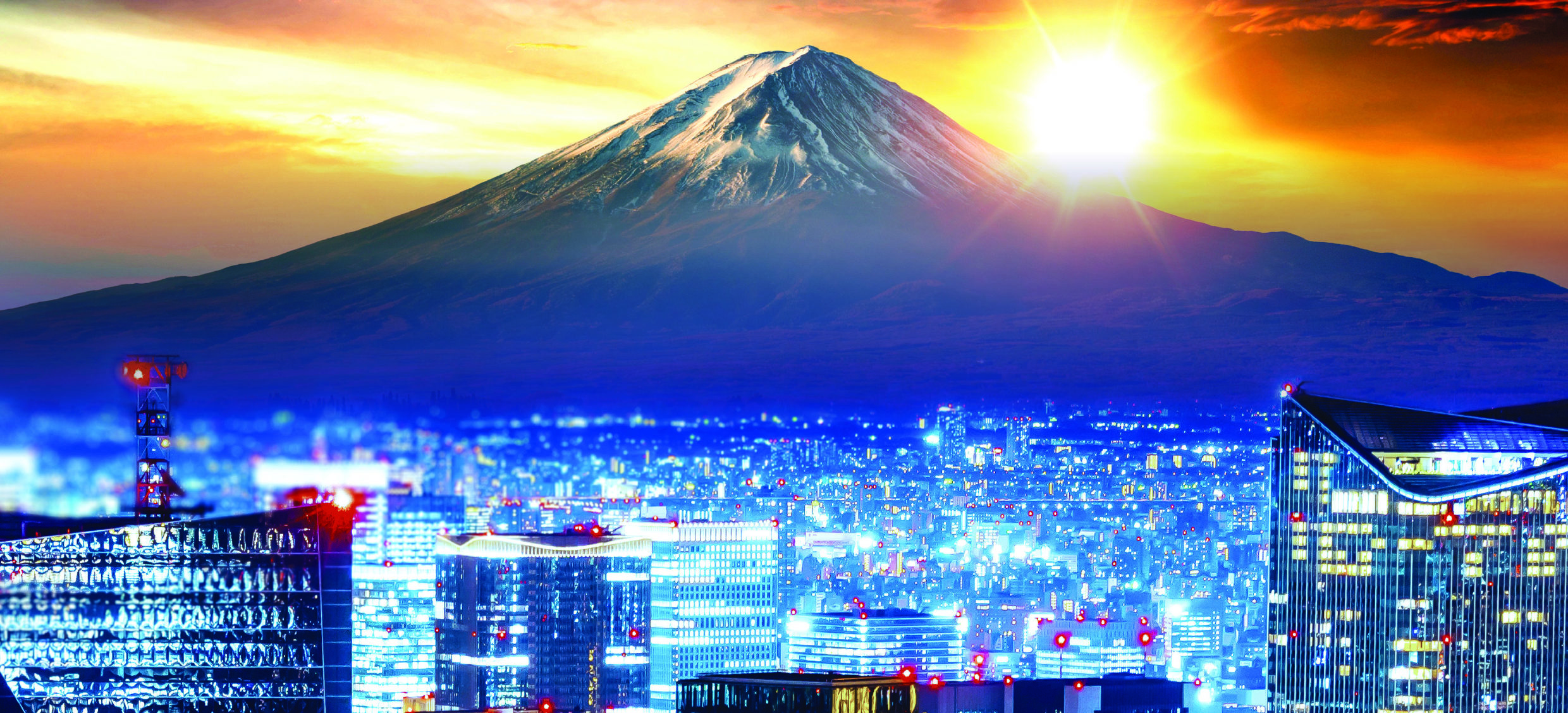 Tokyo city scape with Mt Fuji in the background