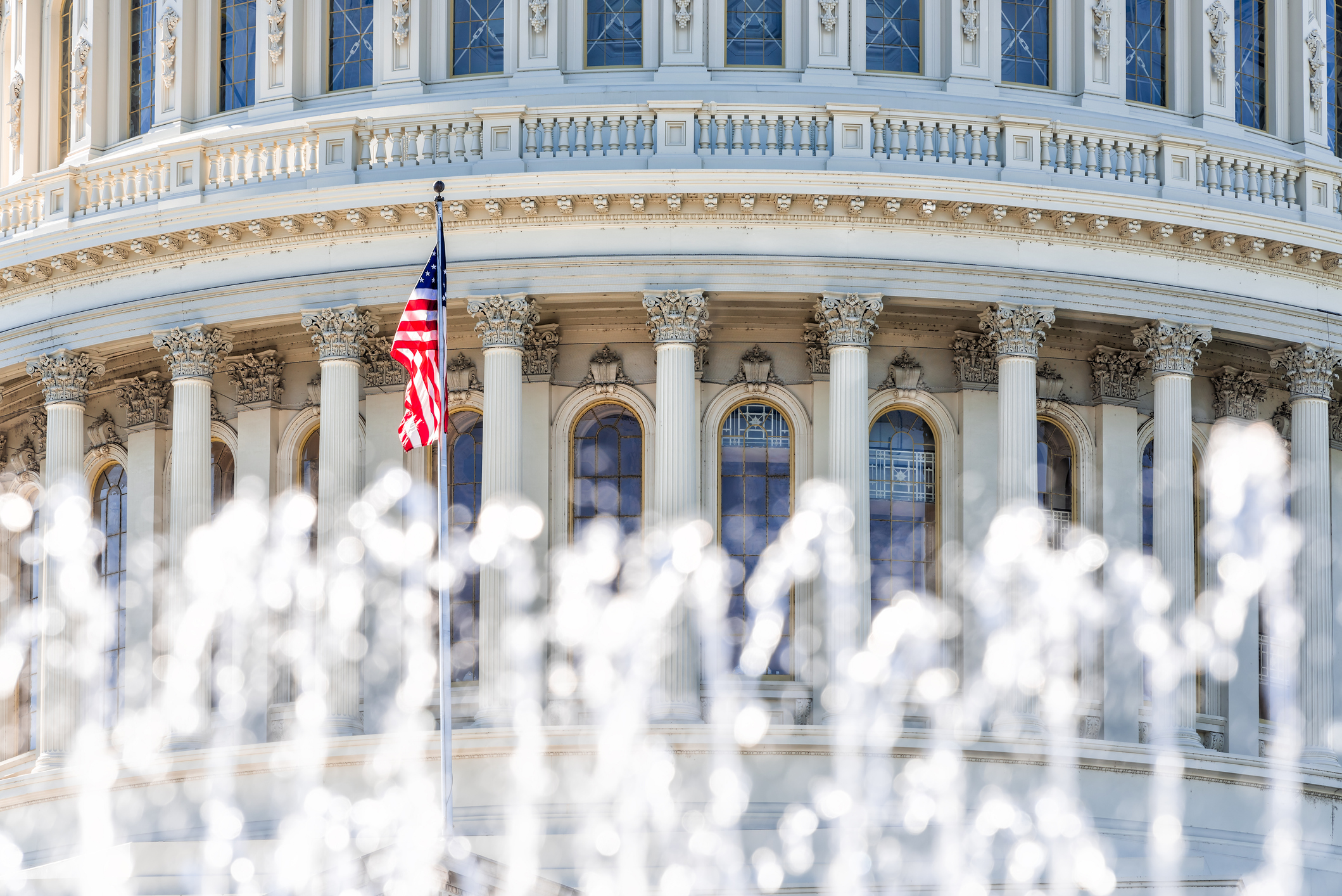 US Congress closeup with background of water fountain splashing