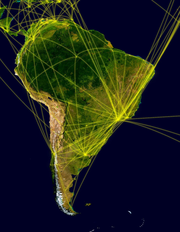 Latin America on a map